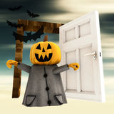 Pumpkin  witch with open heaven door with bats Royalty Free Stock Photography