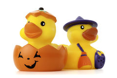 Pumpkin and Witch Rubber Ducks. Isolated on white with a clipping path and copy space Stock Photo