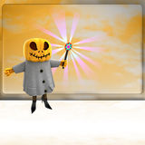 Pumpkin witch with wand ahead of orange board Royalty Free Stock Photos