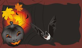 Pumpkin With Maple Leaves And Bat. Halloween Card Stock Image