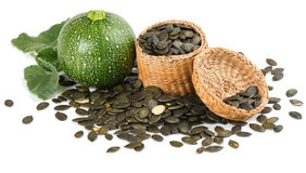 Free Pumpkin With Pumpkin Seeds In A Basket Royalty Free Stock Images - 50693129
