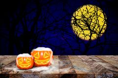 Free Pumpkin With Smoke On Grunge Plank Wooden Table Top At Spooky De Royalty Free Stock Images - 99680819