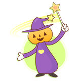 Pumpkin Wizard mascot practice the black art. Work and Job Chara Royalty Free Stock Photo