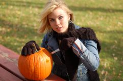 Pumpkin Woman Stock Photo