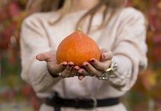 Pumpkin in woman hand out door stock photography