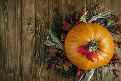Pumpkin on wooden background. With free space for text Stock Image