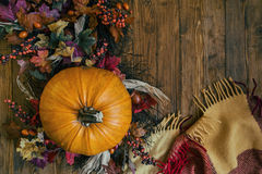 Pumpkin on wooden background. With free space for text Royalty Free Stock Photo