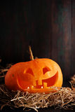 Pumpkin on wooden background Stock Images