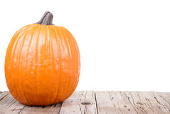Pumpkin on wooden plank Stock Images