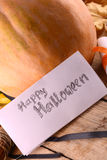 Pumpkin on wooden plate, happy halloween concept Stock Photos