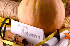 Pumpkin on wooden plate, happy halloween concept Stock Photography