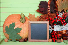Pumpkin wooden table autumn harvest Stock Image