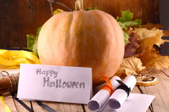 Pumpkin on wooden table, happy halloween Royalty Free Stock Photo
