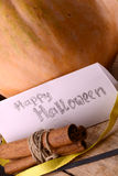 Pumpkin on wooden table, happy halloween Stock Photography
