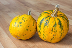 Pumpkin on a wooden weathered floor. Image of pumpkin sitting on a wooden floor Royalty Free Stock Images