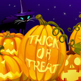 Pumpkin with the words trick or treat Royalty Free Stock Photo