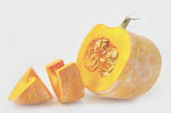 Baby pumpkin. Pumpkin yellow sweet cut to pieces stock image