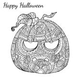 Pumpkin zentangle vector in Halloween. Royalty Free Stock Photos