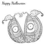 Pumpkin zentangle vector in Halloween. Pumpkin vector by hand drawing Stock Images