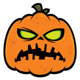 Pumpkin Zombie. Cartoon illustration of a zombie pumpkin jack-o-lantern with green eyes. Great for Halloween stock illustration