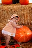 Pumpking baby. Beautiful baby girl laying on a huge pumpkin Royalty Free Stock Photo