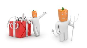 Pumpkinhead with giftbox and Pumpkinhead with pitchfork. Halloween comes Royalty Free Stock Image