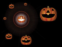 Pumpkins. A family of pumpkins with a bright light shining from one royalty free illustration