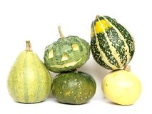 Pumpkins. Five different pumpkins on a pile Royalty Free Stock Image