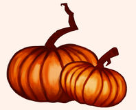 Pumpkins. Halloween Orange Pumpkins, digital painted, can be used for logos, illustrations, halloween cards Royalty Free Stock Photo
