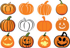 Pumpkins. Set of pumpkins and jack o lanterns Stock Photo