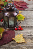 Pumpkins And Fall Leaves Royalty Free Stock Photo
