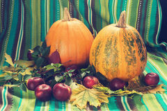 Pumpkins and apple among the fall leaf. Autumn still life. Pumpkins and apple among the fall leaf on the background of green cotton fabric Royalty Free Stock Photo