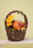 Pumpkins and Apples in Baskets on Wood Bench Stock Photos
