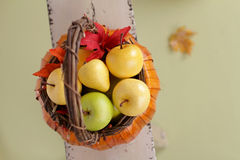 Pumpkins and Apples in Baskets on Wood Bench Royalty Free Stock Image