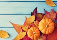 Pumpkins and autumn leafs Royalty Free Stock Photography