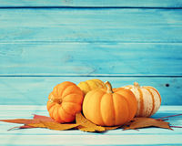 Pumpkins and autumn leafs Stock Photos