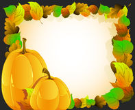 Pumpkins on autumn leaves  background Royalty Free Stock Photo