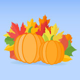 Pumpkins and autumn leaves on blue background. Vector illustration Stock Image