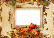 Pumpkins, autumn leaves and frame for photo on vintage backgroun Royalty Free Stock Photos