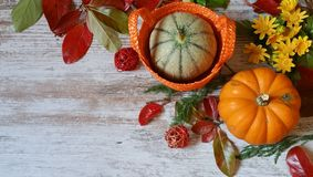 Pumpkins and autumn leaves on wooden background. Vibrant orange pumpkins and colorful autumn leaves on wooden background Stock Photos