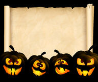 Pumpkins on the background of papyrus Royalty Free Stock Image