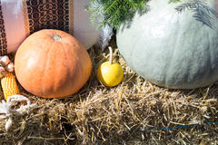 Pumpkins on bales of straw Royalty Free Stock Image