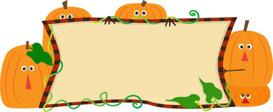 Pumpkins Banner. Cute illustration of cartoon pumpkins holding a banner. Eps10 Royalty Free Stock Images