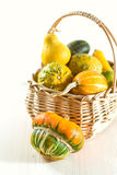 Pumpkins in basket Stock Photography