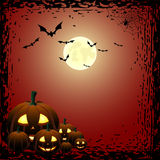 Pumpkins and bats Stock Photo