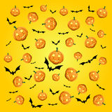 Pumpkins and bats background Stock Image