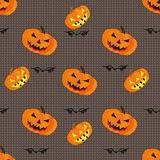 Pumpkins and bats on a gray background geometric seamless pattern vector illustration Stock Image