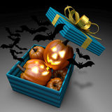 Pumpkins and bats in present box. Royalty Free Stock Photo