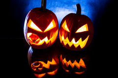 Pumpkins, on black background for halloween holiday Royalty Free Stock Photo