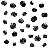 Pumpkins black on white background seamless pattern. Autumn harvest theme Royalty Free Stock Image
